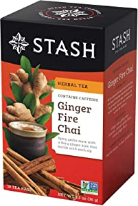 Stash Tea Ginger Fire Chai Yerba Mate & Herbal Tea Blend 18 Count Box of Tea Bags in Foil (Pack of 6)