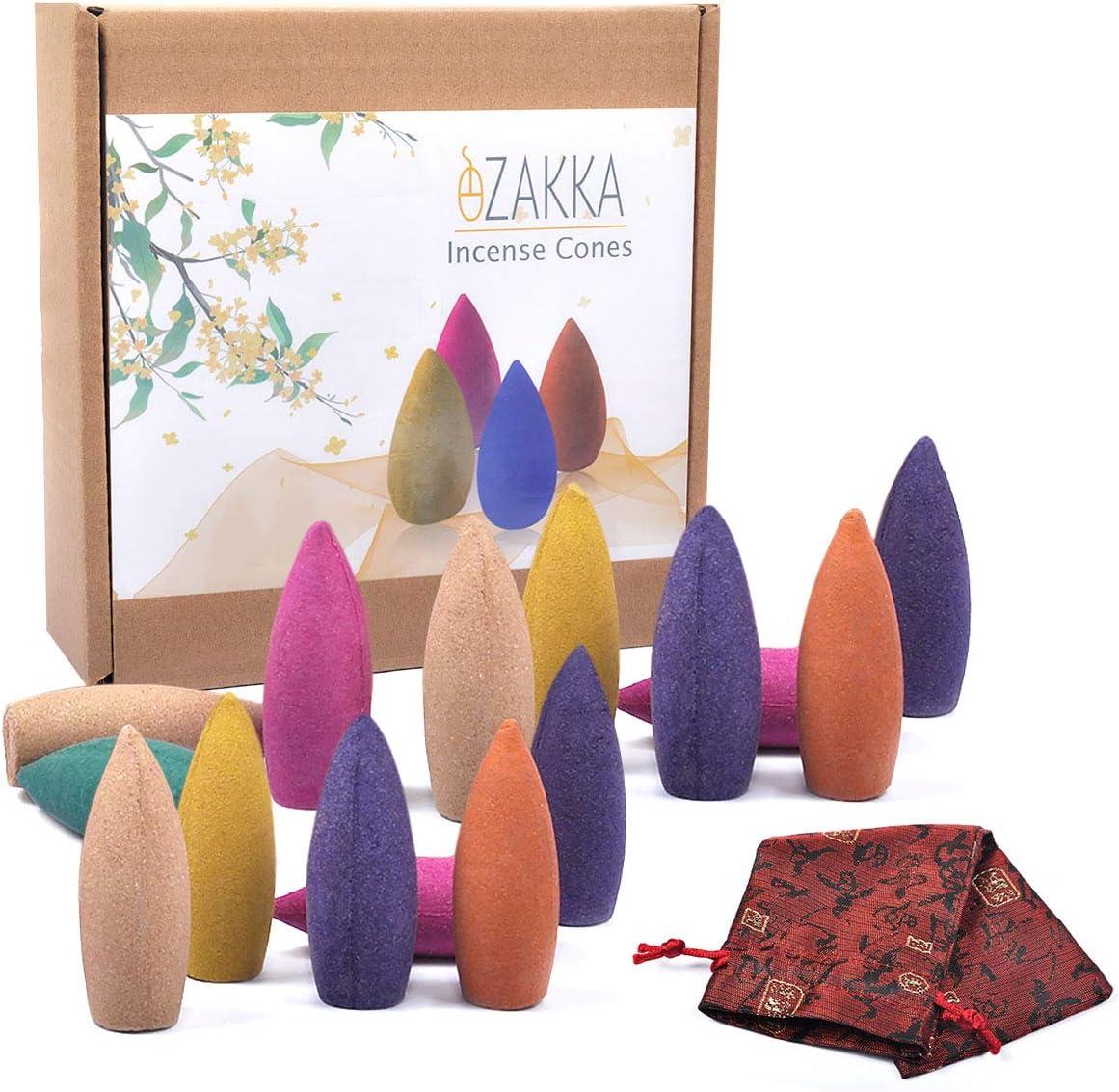 eZAKKA Backflow Incense Cones 120 Pieces Mixed Natural Incense Cone with Storage Bag