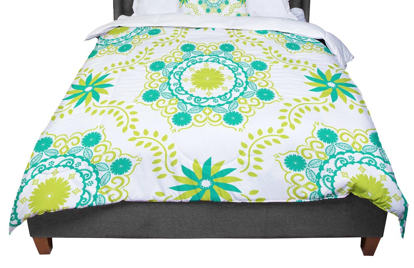 KESS InHouse Anneline Sophia ''Let's Dance Green'' Teal Floral Queen Comforter, 88'' X 88''