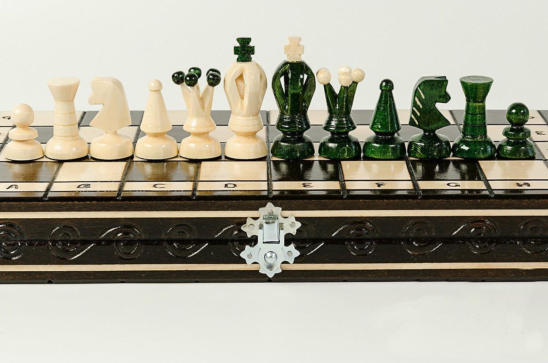 Große grüne Königreich 35cm/13,8 In Handarbeit aus Holz Schachspiel mit Zugluft / Dame