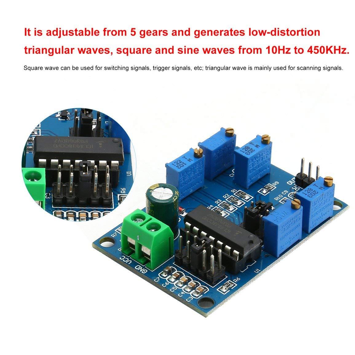 Farbe: blau ICL8038 Signalgenerator Triangular//Rechteck//Sinus-Generator-Modul Medium//Low Frequency 10Hz-450 kHz 12V bis 15V