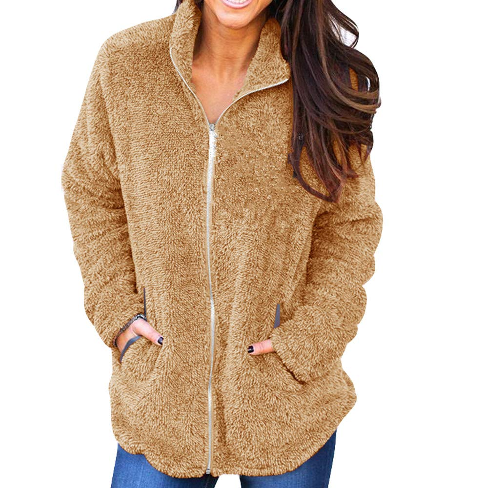 Plüschjacke Damen Briskorry Frauen Elegant Winterjacke Wollmantel Umlegekragen Herbst Winter Dicker Wolljacke Warm Faux Fur Fellmantel Plüsch Parka Outwear Trenchcoat Wintermantel Steppjacke Briskorry Wintermantel Damen