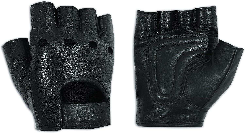A-pro - Guantes sin dedos de suave piel vacuna punteada para moto, color negro 3XL