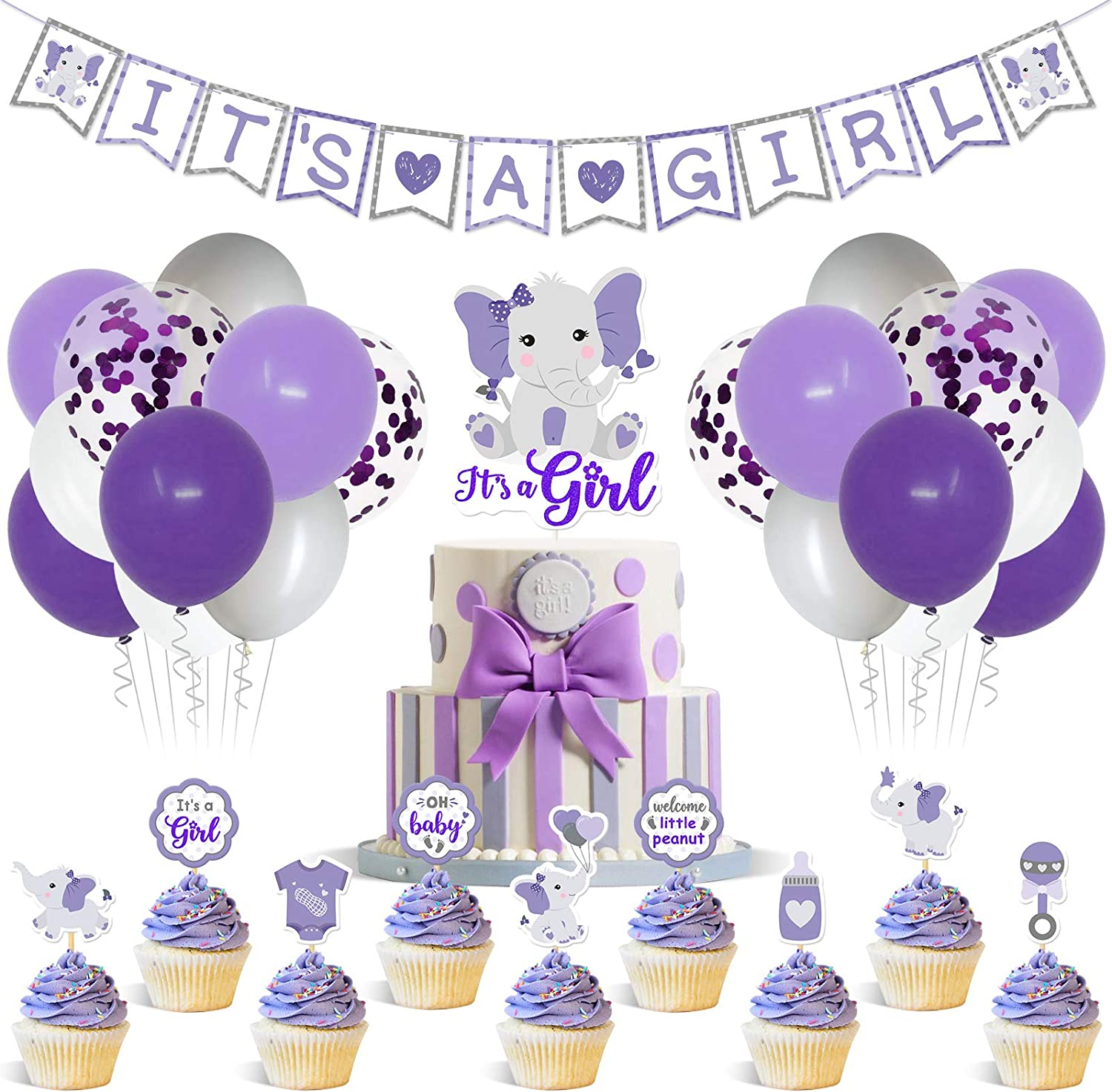 Purple Elephant Baby Shower Decor Purple and Gray It's a Girl Banner Cake Topper Cupcake Toppers Latex Balloons for Girl Baby Shower Purple Little peanut Welcome Baby Birthday Party Supplies