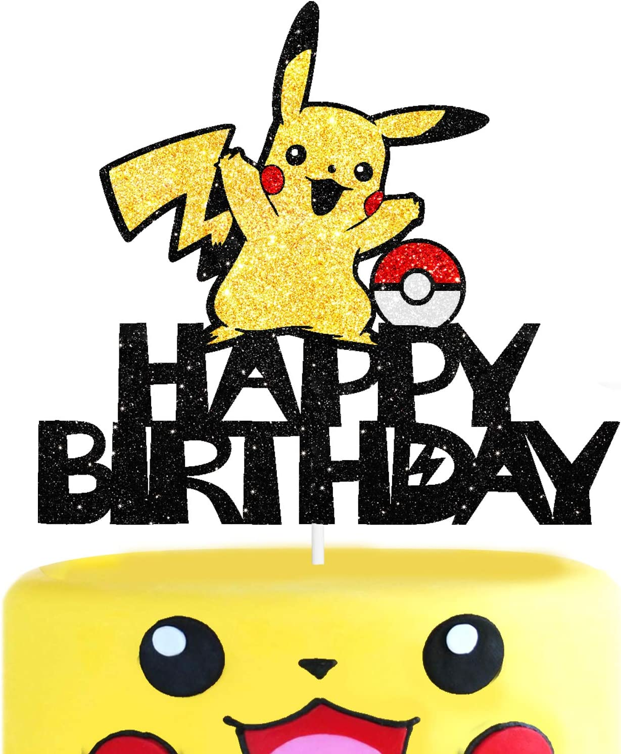 Cartoon Electric Pet Cake Topper Video Game Happy Birthday Theme Gold Glitter Decor for Baby Shower Birthday Party Decorations Supplies