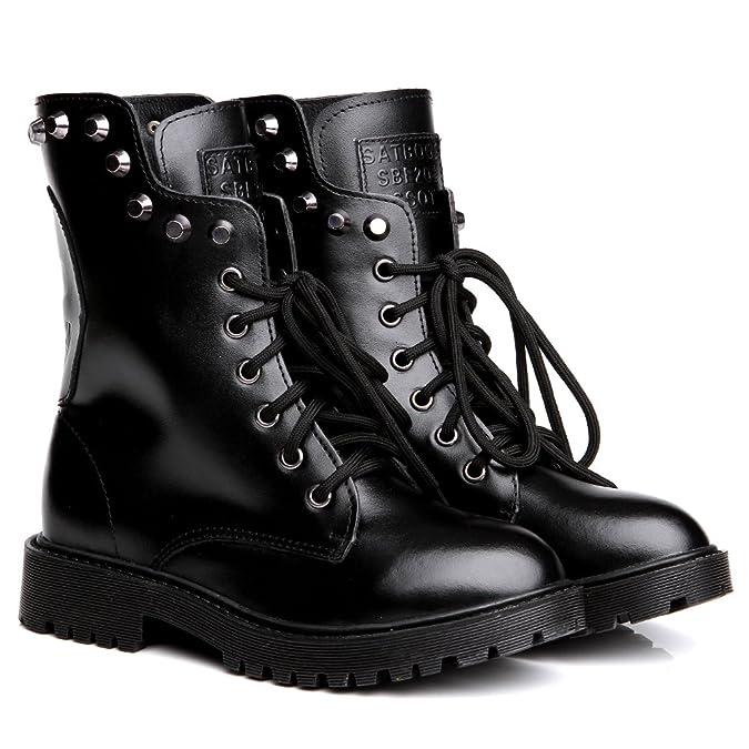 Shenn Women's Mid Calf Skull Stylish Combat Split Leather Biker Boots:  Amazon.co.uk: Shoes & Bags