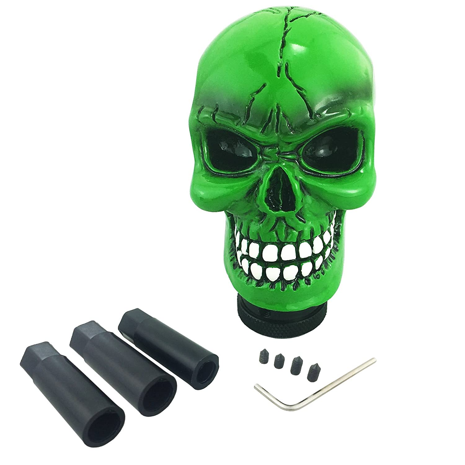 Arenbel Auto Shift Knob Skull Gear Stick Shifting Lever Shifter of Cool Style fit Universal Manual Automatic Cars Black