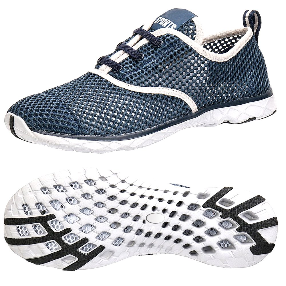 Womens Adult Water Shoes Summer Beach Running Shoes Quick Dry Walking Sandals Swim Sneakers Yoga Footwear Sport Breathable Mesh Slip On Athletic Water Shoes for Ladies Size M(W:7.5-8.5,M:6.5-7.5) [42] by Aiken