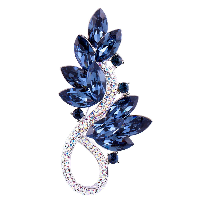 RAINBOW BOX Tree Leaf Brooch Pins for Women, from Swarovski Crystal Jewelry Brooches for Women Mom Girlfriend Girls Birthday