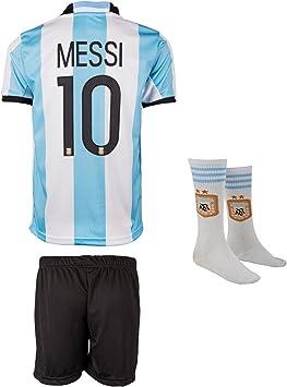 Argentina Mundial 18 y copa America 16 # 10 Messi – Niños Pantalones y camiseta con corta Calcetines, 164: Amazon.es: Deportes y aire libre
