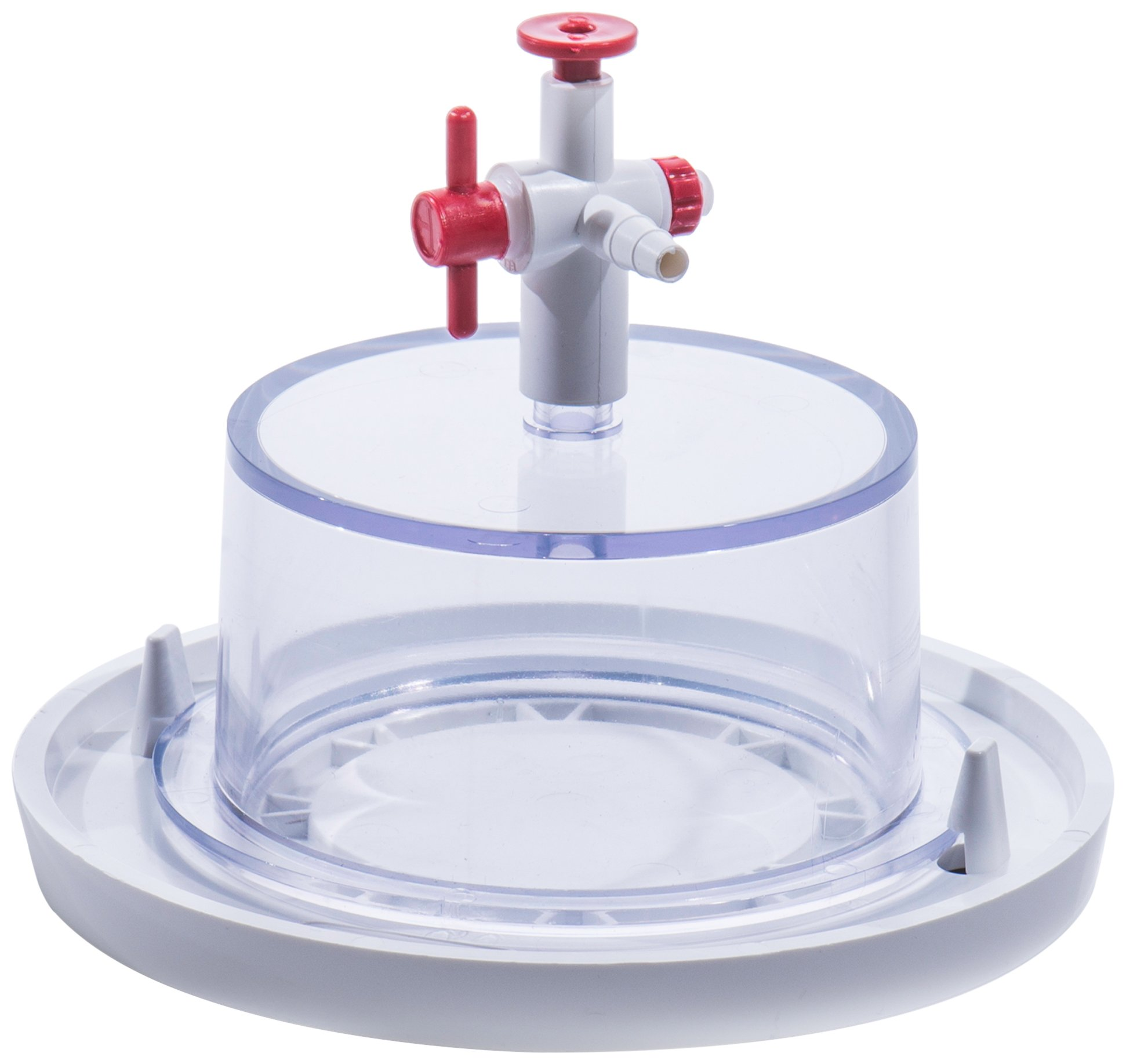 Bel-Art Clear Polycarbonate Mini Vacuum Desiccator with White Polypropylene Bottom; 0.02 cu. ft. (F41099-0000)