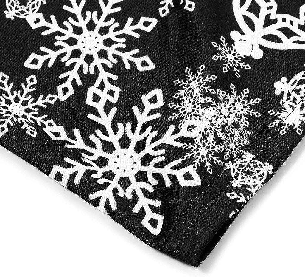 kaifongfu Women Plus Size Christmas Santa Claus Snowflake Print Long Sleeve Plaid Tunic Tops Blouse