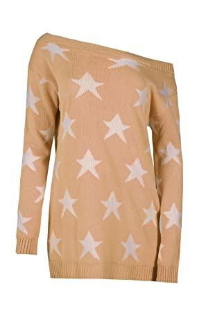 a82a8cf5aeed Womens Ladies Seeing Star Off The Shoulder Oversized Knit Sweater Jumper  Dress