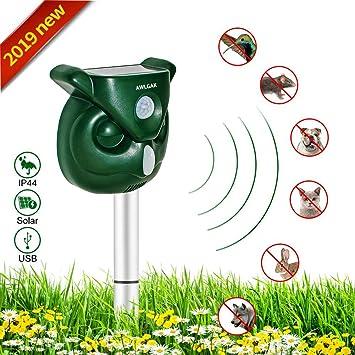 Repelente para gatos,Repelente Ultrasónico para Animales,con LED,Carga solar,ristente