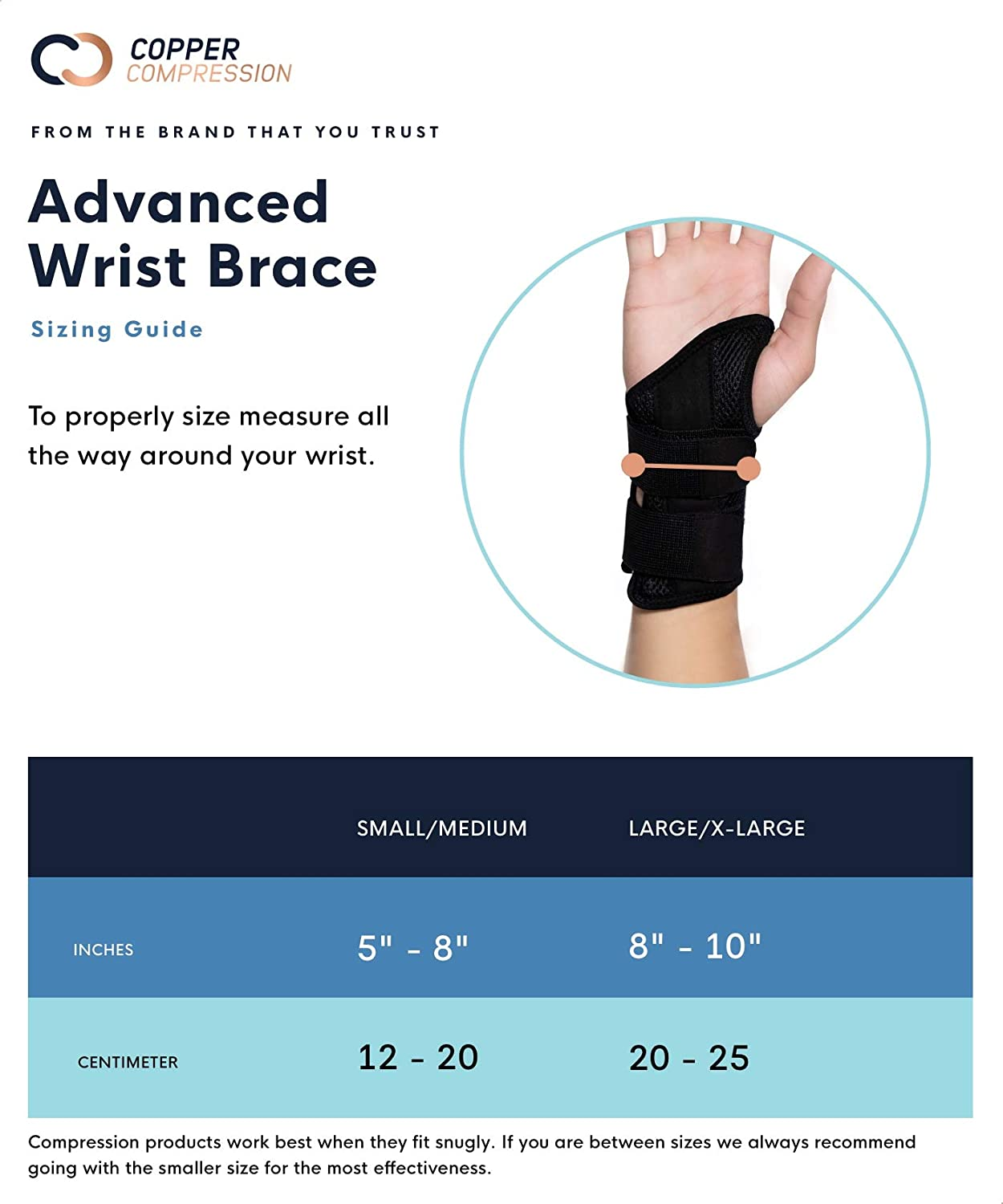 Copper Compression Wrist Brace - Guaranteed Highest Copper Content Support for Wrists, Carpal Tunnel, Arthritis, Tendonitis. Night Day Wrist Splint for Men Women Fit Right Left Hand (Left Hand L-XL): Health & Personal Care