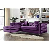 Handy living chaise lounge chair purple for Button tufted chaise settee velvet aubergine