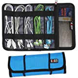 BUBM Universal Cables/Pens Holder Organizer, Healthcare & Grooming Kit, Small Electronics Organizer Management Kit, Sky Blue