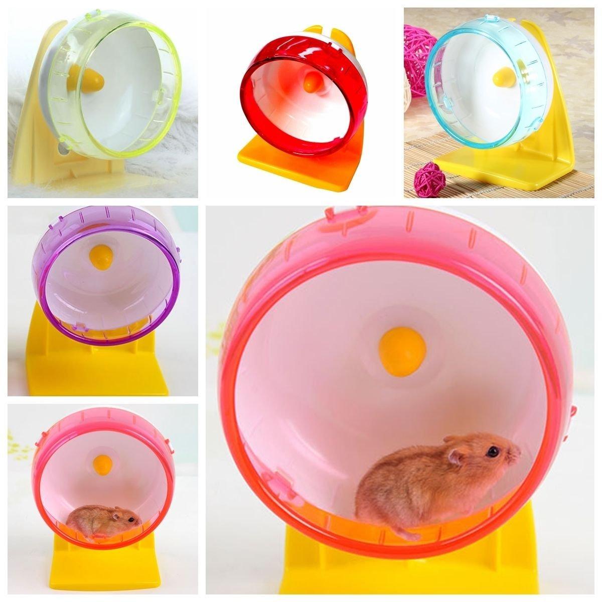 New Pet Rat Hamster Mouse Mute Exercise Running Wheel + Stable Bracket Toy Plastic