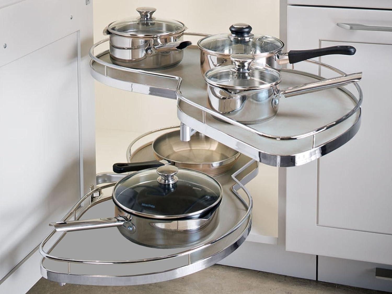 Eckschrank küche auszug  SO-TECH® 500 mm Rechts LeMans II Eckschrank Beschlag silbergrau ...