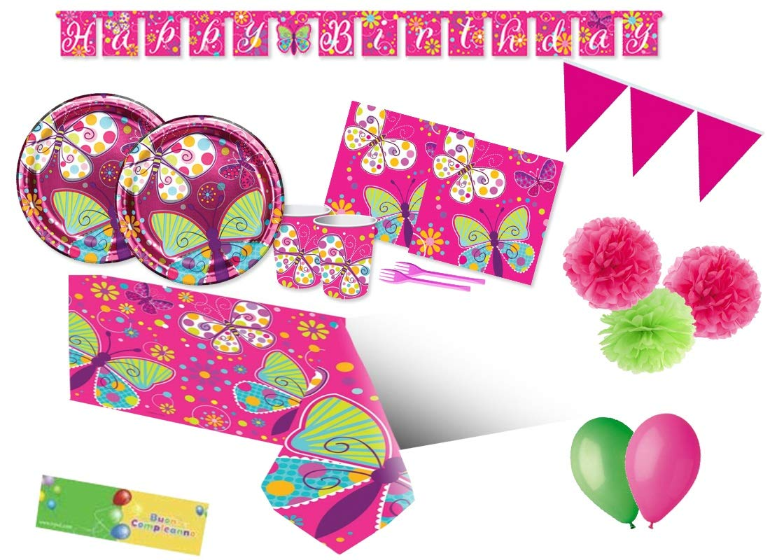 Creative Converdeing Kit n 64 Farfalle Coordinato addobbi Festa Compleanno Butterfly Party