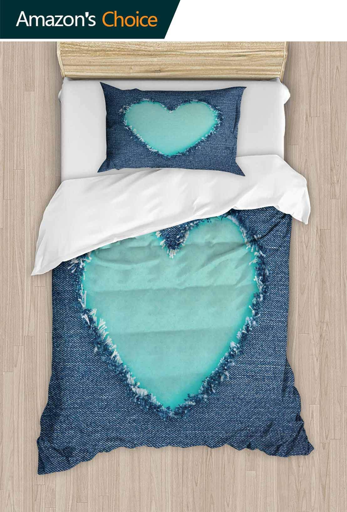 PRUNUSHOME Softest Bedding Blue Vintage Heart Shape for Copy Space Soft and Comfortable King