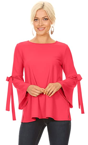 ef46ced2448a7b Coral Pink Flowy Dressy Tops for Women with Bow Sleeves Reg and Plus Size -  Made
