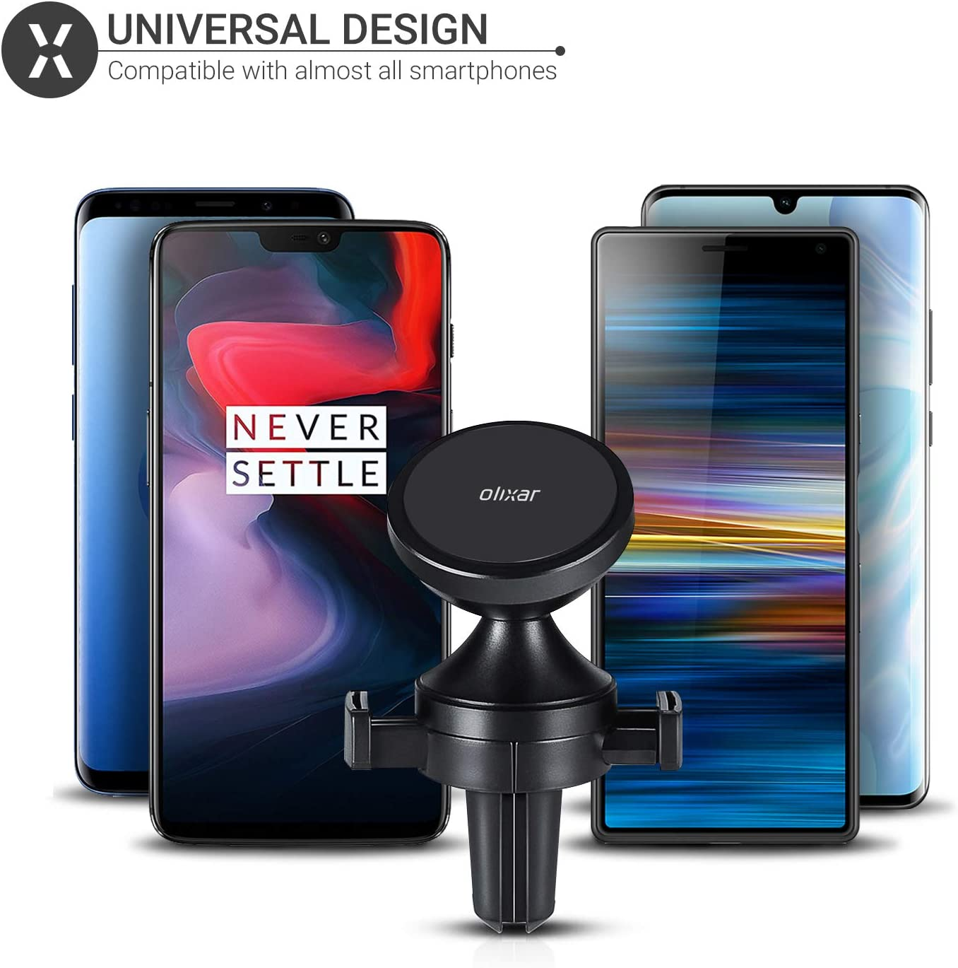Black for Car Air Vent Mount with 360 Degree Rotation Olixar Magnetic Mount Air Vent Holder Samsung Galaxy Motorola Huawei Devices and More Universal Fit for iPhone