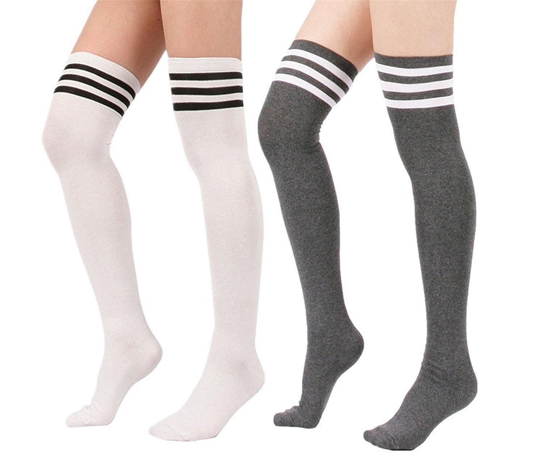 Spring fever Women Over Knee Stripe High Stockings Fashion Athletic Retro Socks Grey SUAAFVAFA1PSF