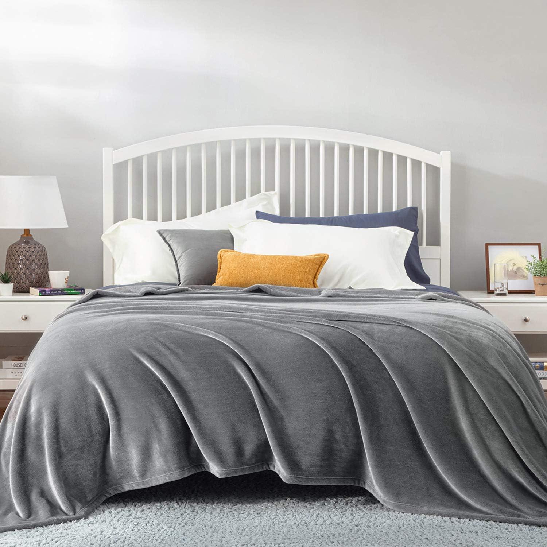 Bedsure Mantas para Sofás de Franela 270x230 cm - Mantas para Cama de 180 Reversible de 100% Microfibre Extra Suave - Manta Invierno Gris Transpirable