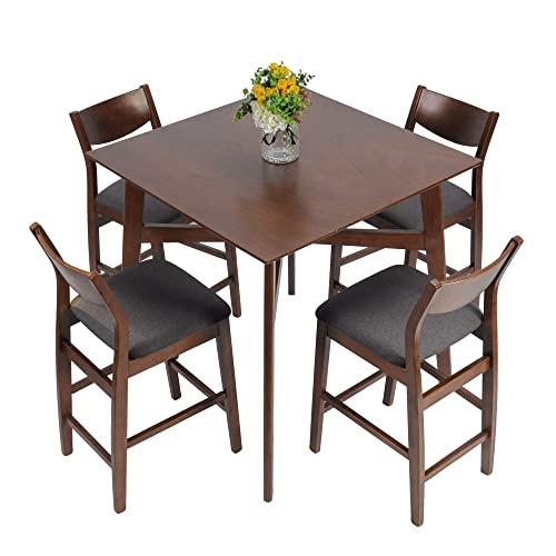 LUCKYERMORE 5 Piece Counter Height Dining Table Set with 4 Bar Stools Mid Century Kitchen Dining Room Pub Table and Chairs for 4 Wood Dinette Set, Walnut