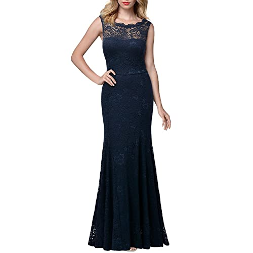 Miusol Womens Retro Flare Lace Split Side Evening Black Maxi Dress