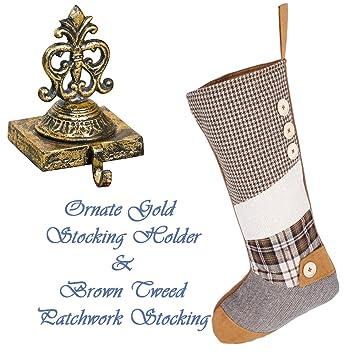 Schon Luxus Weihnachtsstrumpf Set U2013 Schöne Distressed Gold Gusseisen  Weihnachtsstrumpf Halter Mit Luxus Designer Tweed Dogtooth Braun