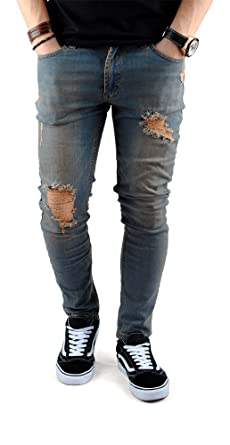 FiveSix Herren Used-Look Slim-Fit Denim Destroyed-Look Bikerjeans Löcher  Zerrissen Skinny