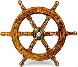 Nagina International Nautical Handcrafted Wooden Ship Wheel - Home Wall Decor (12 Inches, Natural Wood)