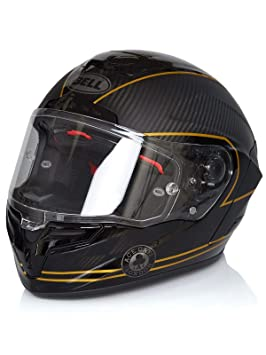 Amazon.es: Bell 7069593 Casco para Moto Racestar Speed Check, Negro Mate/ Dorado, L