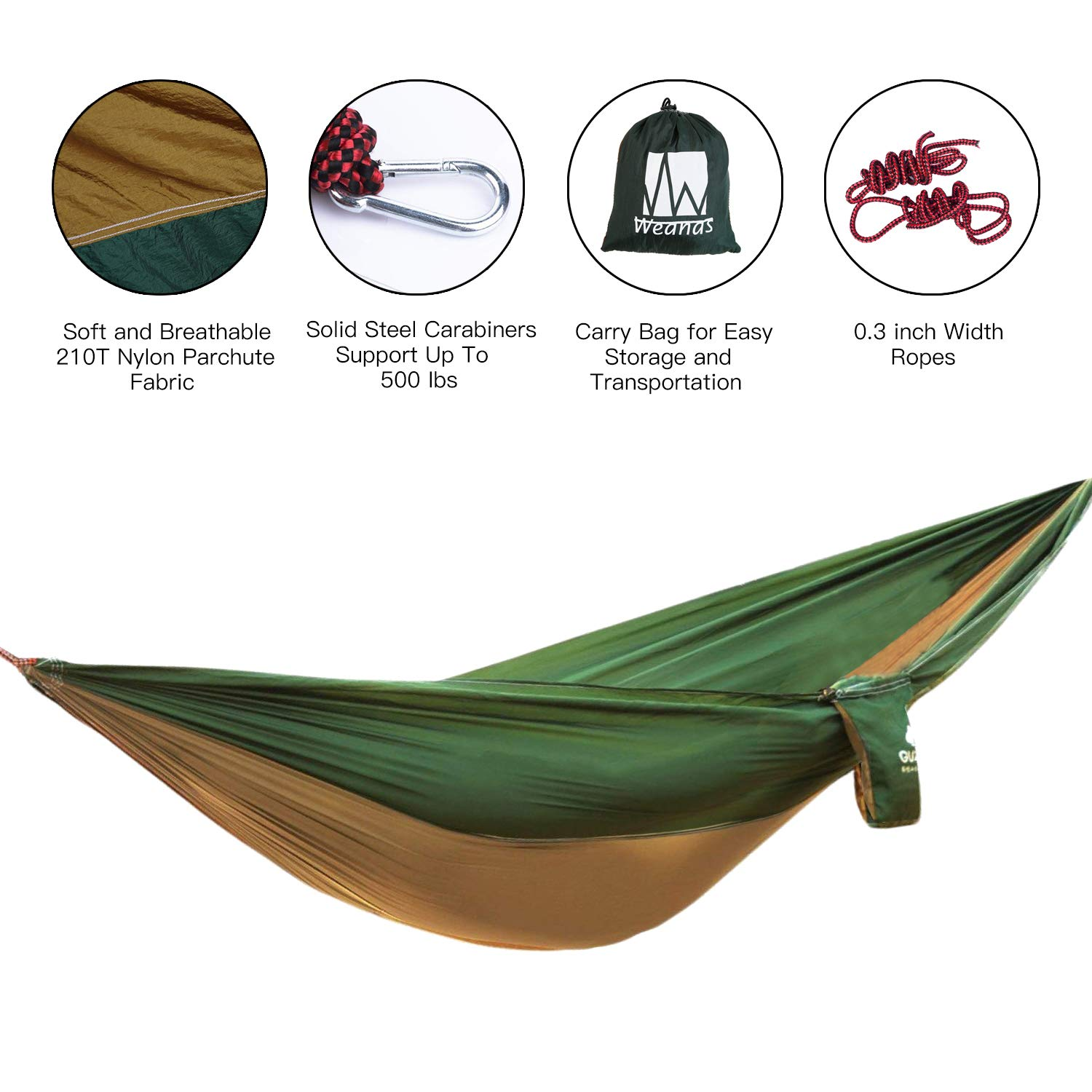 Weanas Extra Large Hammock Ultralight, Lightweight Portable Parachute Nylon Outdoor Camping Hammock Backpacking, Hiking, Beach, Travel, Garden, Yard Extra Single – Brown Green