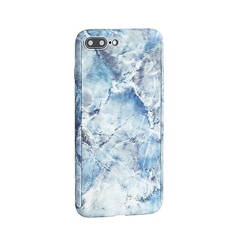 Awenroy Funda iPhone 7Plus / 8Plus Mármol Carcasa Dura Ultra Delgada Ligera Anti-Rasguño Antigolpes Choque Absorción con Vidrio Templado 360 Grados 3 ...