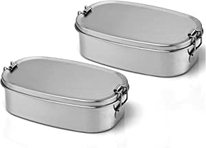 Stainless Steel Bento Box, Dailyart Small Metal Lunch Containers, 304 Stainless Steel Snack Food Containers Metal Bento Box for Kids & Adults, Dishwasher Safe, 550 ml/18.6 oz (Set of 2)