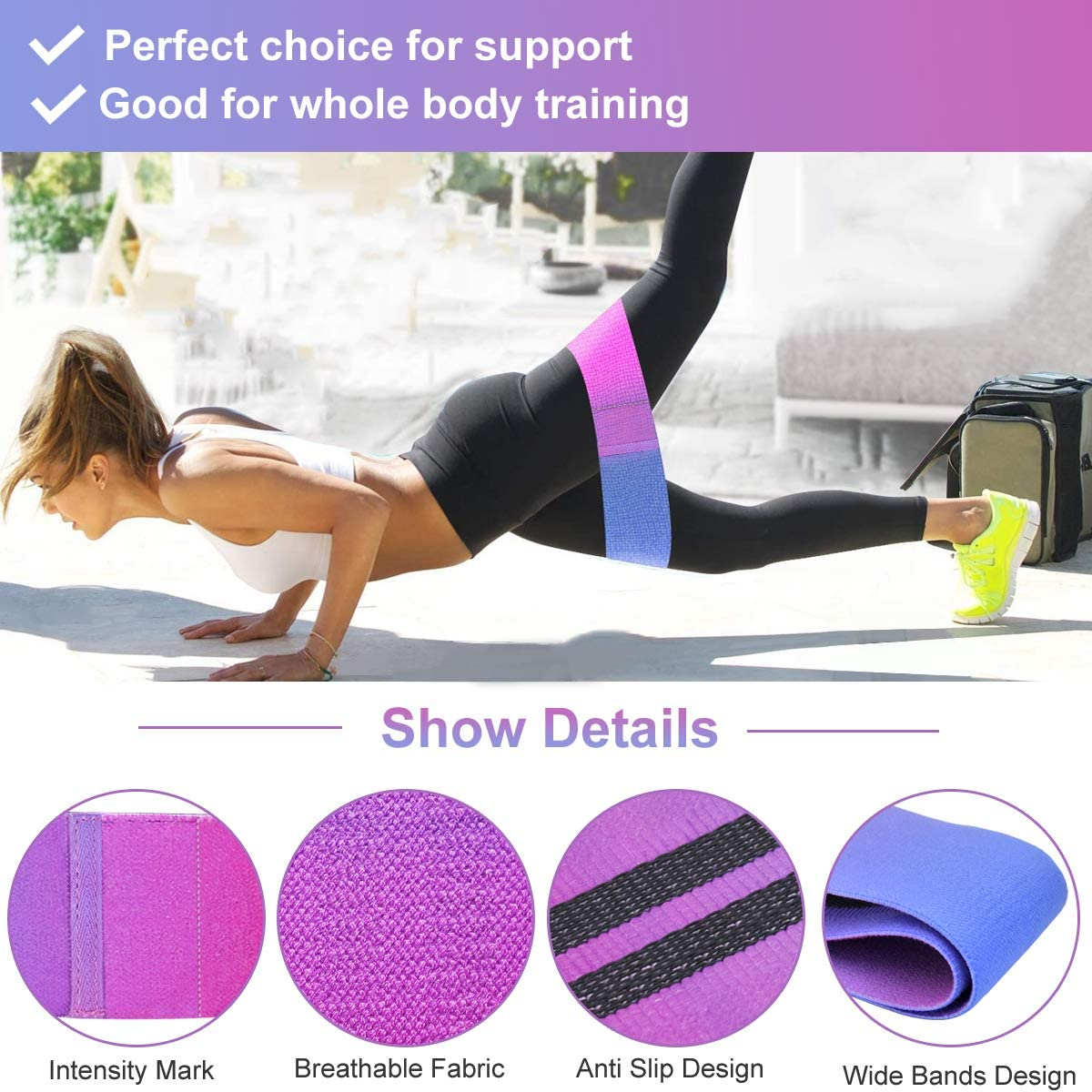 Exercise Resistance Bands Sets Squat Hip Training Home Fitness Elastic Bands Set 3Pcs for Women//Men Adjustable Jump Rope and Non-Slip Resistance Loop Bands Workout with Carrying Pouch