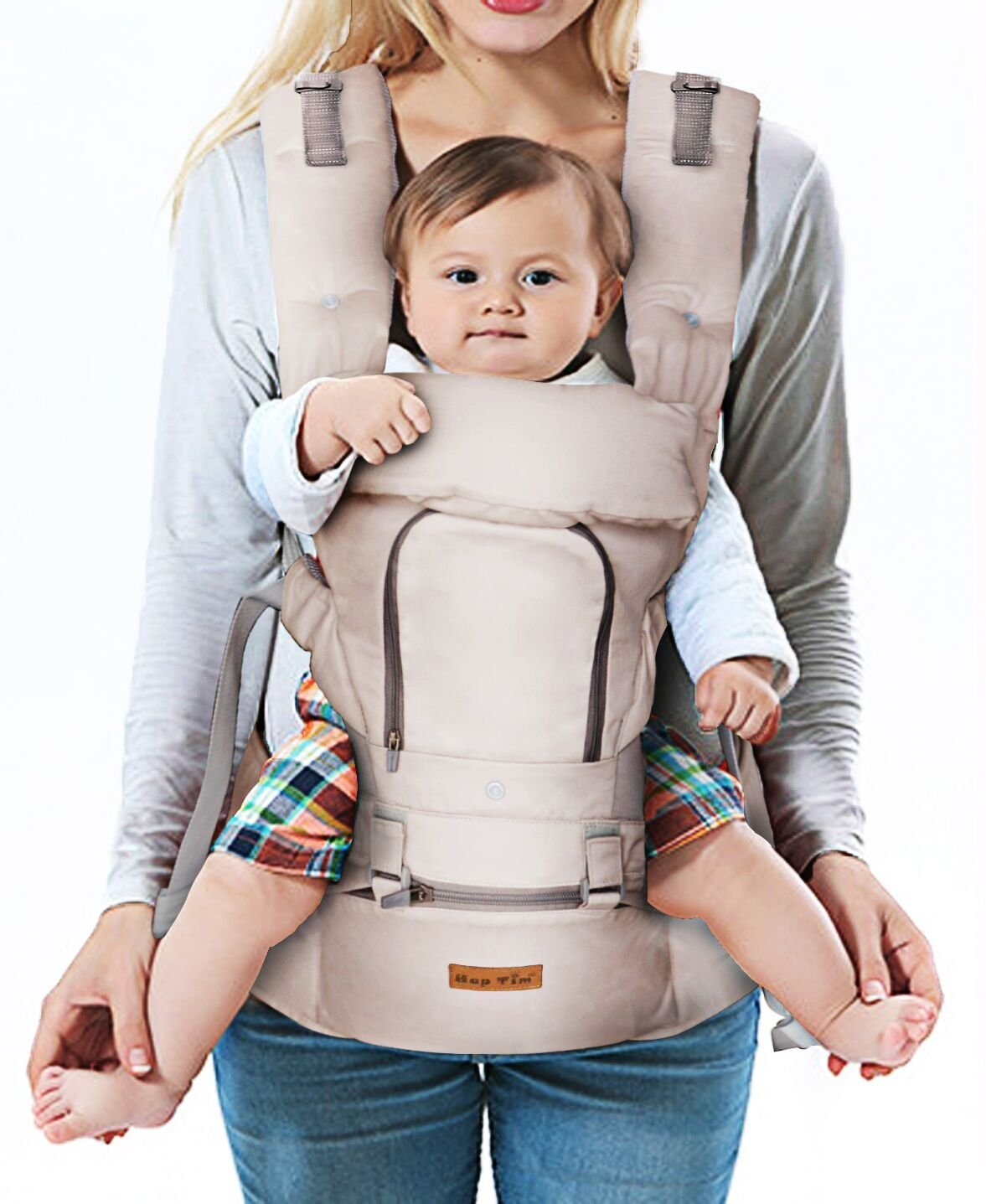 Ergonomic Baby Carrier with Hip Seat for Girls/Kids,Baby Backpack Carrier Toddler 6 Comfortable & Safe Positions, 48'' Maximum Adjustable Waistband, Perfect for Alone Nursing and Hiking (Grey))