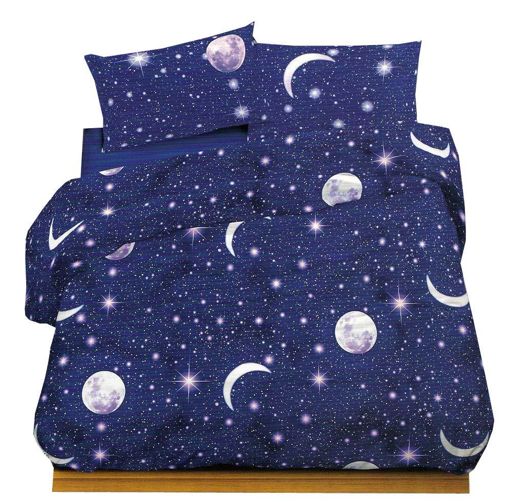 Juego completo de sábanas para cama de plaza y media -Planetario, 100% algodón: Amazon.es: Hogar