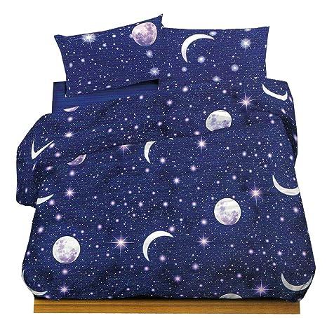 Juego completo de sábanas para cama de plaza y media -Planetario, 100% algodón