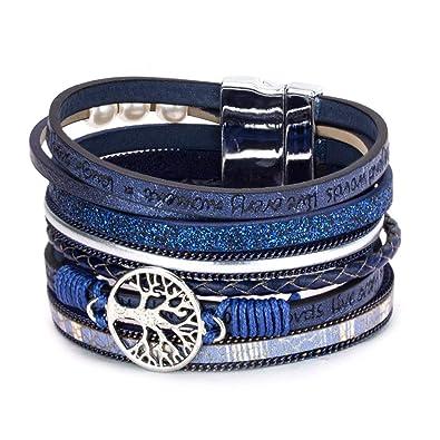 b93c6b3a250 Alaxy Multi-Layer Leather Tassel Bracelet Handmade Wristband Gorgeous Wrap  Bracelet with Magnetic Buckle Bohemian Bangle Jewelry for Women, Teen Girl,  ...