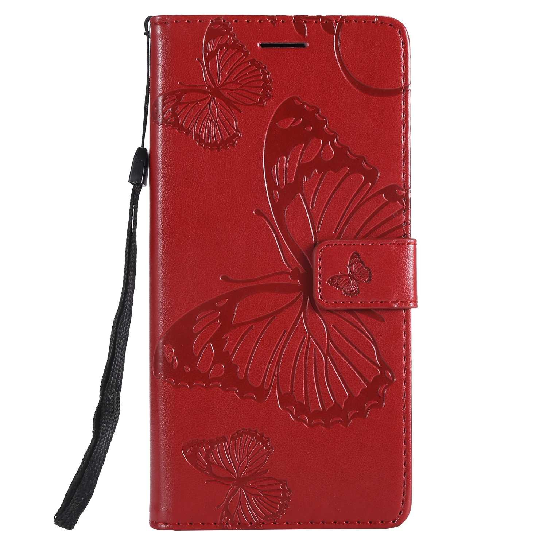 DENDICO Coque Galaxy J8, Papillon Imprimé PU en Cuir Coque Magnétique Portefeuille TPU Étui Housse pour Samsung Galaxy J8 - Rouge DDCFR13J8-2106