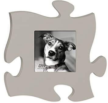 grey puzzle piece picture frame holds 55 x 55