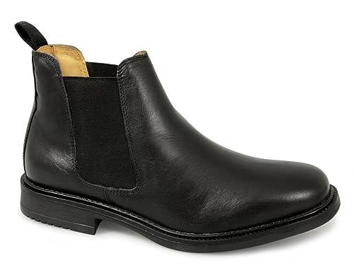 Roamers para hombre Twin Gusset Botas Chelsea acolchada y de piel, color negro: Amazon.es: Zapatos y complementos