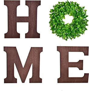 3 Pcs 12 Inch Wooden Letters Home Sign with Green Wreath Decorative Wreath for Farmhouse Wall Home Wall Decoration