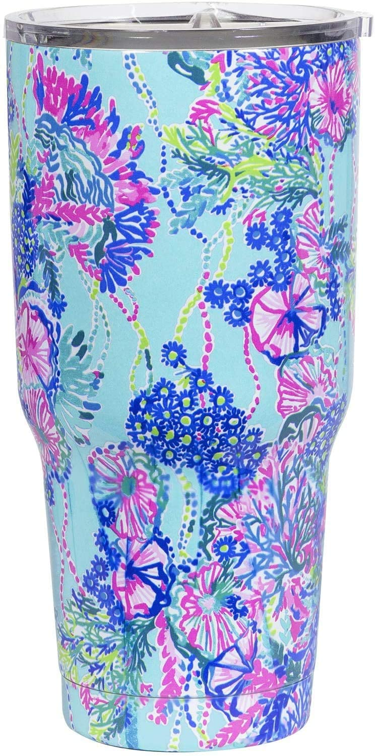 Lilly Pulitzer 30 Ounce Insulated Tumbler with Lid, Large Stainless Steel Travel Cup, Beach You To It