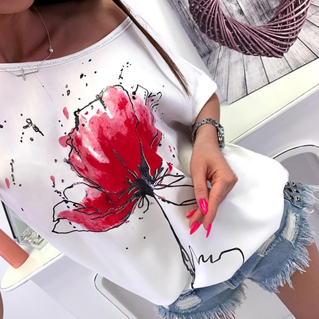 Keepwin Camisetas Cortas Manga Corta Mujer Estampadas Camisetas Anchas  Remeras Camisa Para Mujer Deporte Verano Poleras ... 8865b0e191e44