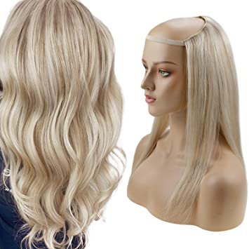 Amazon Com Runature Wig Hair With Clip 3 4 Head Color 18p60 Dark Ash Blonde With Platinum Blonde Color 100g Half Wigs Human Hair 12 Inches Short Human Hair Wigs For Women One